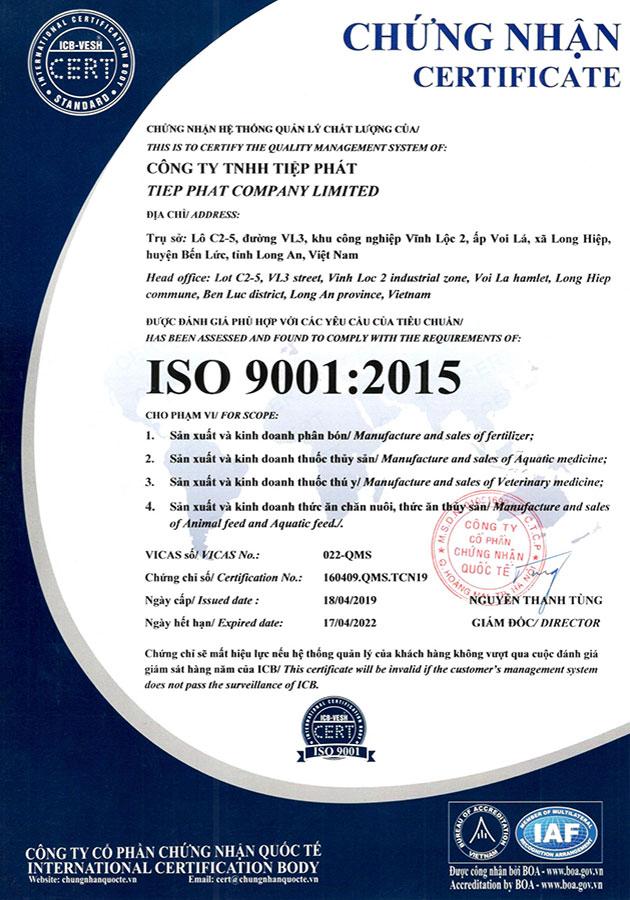 TIEP PHAT ISO 9001:2015 CERTIFICATE