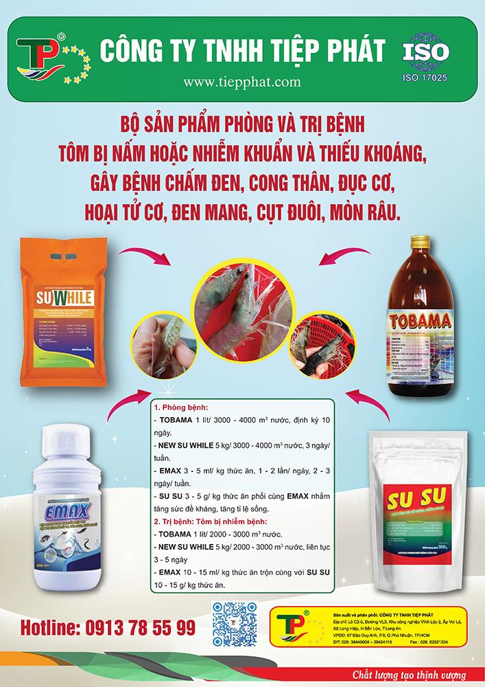 Bộ sản phẩm phòng trị bệnh Tôm bị Nấm hoặc Nhiễm Khuẩn & thiếu khoáng, gây bệnh chấm đen, cong thân, đục cơ, hoại tử cơ, đen mang, cụt đuôi, mòn râu