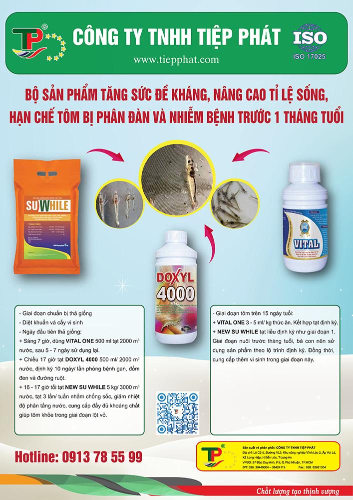 Bộ sản phẩm Tăng Sức Đề Kháng, nâng cao tỷ lệ sống, hạn chế Tôm bị Phân Đàn & nhiễm bệnh trước 1 tháng tuổi